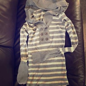 Free People M hooded striped sweater